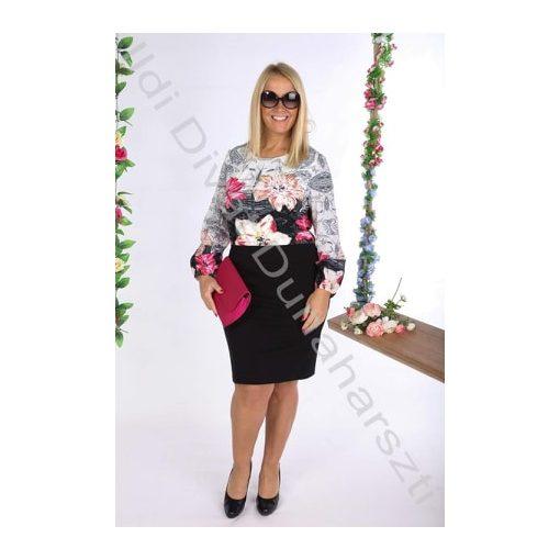 Livello Fekete-Pink virágos ruha